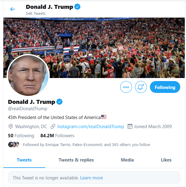 Twitter Censors Trump By Completely Removing His Tweet For First Time
